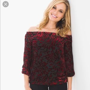 NWT Chico's Velvet statement off the shoulder top